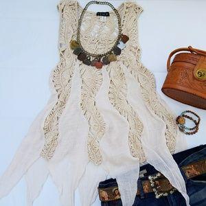 Crochet Boho Top Festival XS